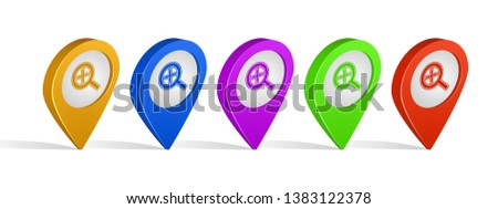 Multi color 3d pins of zoom in alt sign icon