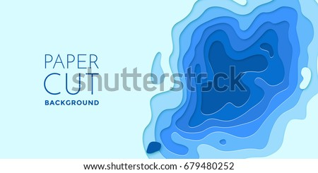 Multi color paper layers 3D papercut with gradient on blue vector background. Abstract paper cut texture for topography website template or smooth cartoon origami paper shape concept