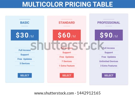 Multi-color Pricing table or pricing list with price tag red blue and purple colored