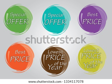 multi-color special offer, Best price, Lowest price of the year vector price tags