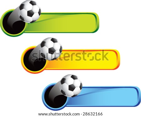 multi color thrown soccer ball web banner