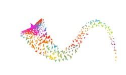 Multi-colored birds. Abstract bird mosaic. A flock of flying rainbow birds. Vector illustration
