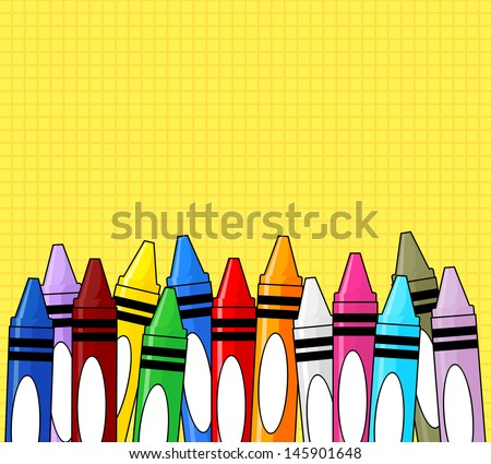 multi colored crayons frame on grid yellow background