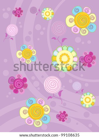 multi-colored flowers on a lilac background - stock vector