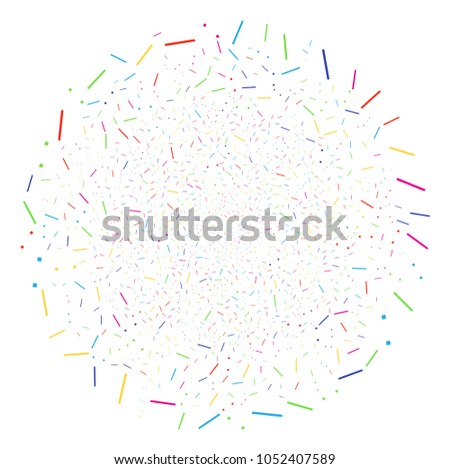 Multi Colored Lines And Dots sparkler cluster. Vector spheric cluster explosion designed with scattered lines and dots elements. Multicolored Vector illustration.