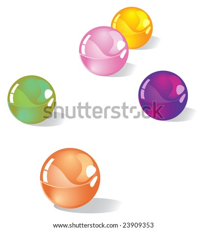 multi-colored marbles with shadows #23909353