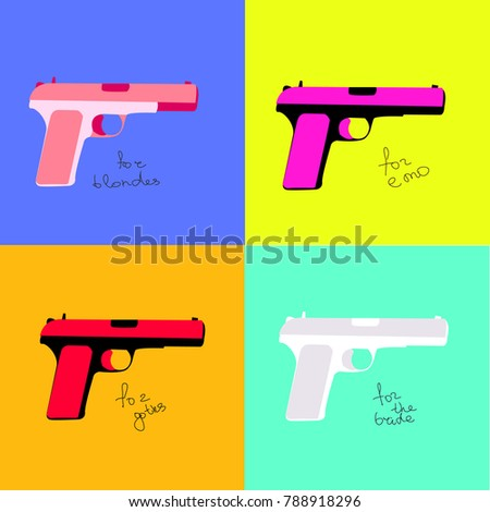 multi colored pistols for