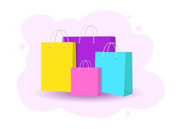 Multi-colored shopping bags. Set of packages for purchase and carrying. vector illustration