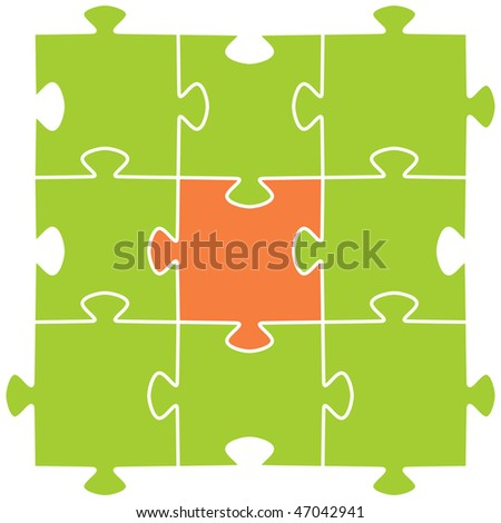 Multi-coloured puzzles on a white background. Vector illustration
