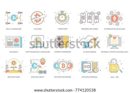 Multi cryptographic signature, halving, timestamp, ordered records, ethereum, hashrate, mining hardware, cloud, payment technology, bitcoin farm, craft, exchange, storage, sha 256 vector flat icons.