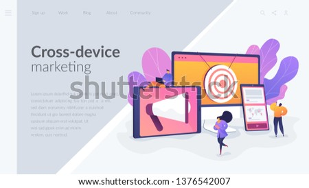 Multi device targeting, reaching audience, cross-device marketing concept. Website homepage interface UI template. Landing web page with infographic concept hero header image.