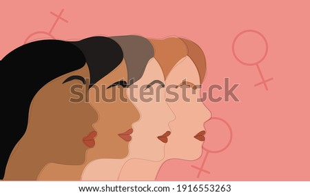 Multi-ethnic beauty. Different ethnicity women - Caucasian, African, Asian and Indian. International women's day  Foto stock ©