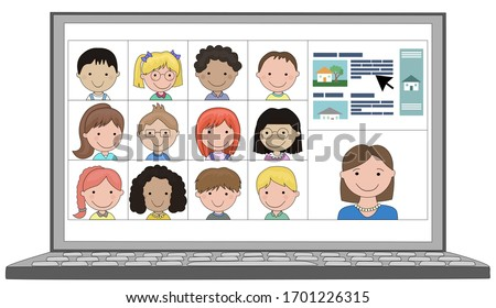 Multi ethnic Class of children distance learn online remotely with teacher and screen cast on laptop school education during coronavirus covid19 lockdown or self isolation