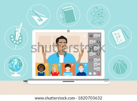 Multi ethnic class of children remotely learn online using web app. Schoolkids, male teacher, lesson chat, laptop screen, subject icons.  School distance education during coronavirus covid-19 pandemic