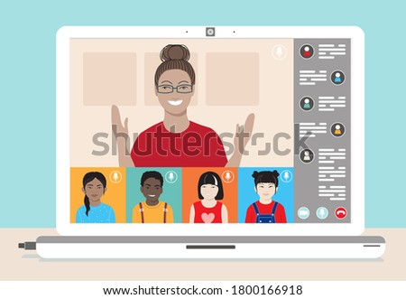 Multi ethnic class of young children remotely learn online using web app. Schoolkids and female teacher at lesson, chat, laptop screen.  School distance education during coronavirus covid-19 pandemic.
