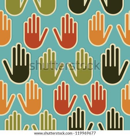 Multi-Ethnic human hands seamless pattern background. Vector file layered for easy manipulation and custom coloring.