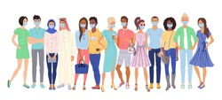 Multi ethnic people in protection masks. Isolated casual men and women cartoon character group standing together during corona virus epidemic. Multi-ethnic crowd. Vector multiethnic people society