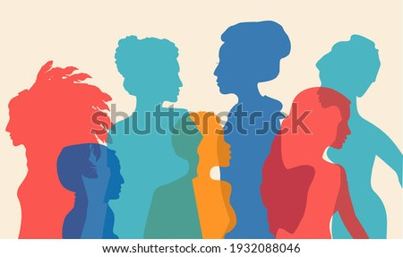 Multi-ethnic women silhouette. Different ethnicity women: African, Asian, Chinese, European, Arab. Racial equality and anti-racism. The struggle for rights, independence, equality. Multicultural