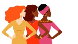 Multi-ethnic women together. Women different nationalities and cultures. The struggle for rights and equality. Female empowerment movement. Different women: African, European, Latin American. Vector.
