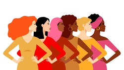 Multi-ethnic women. Women different cultures. The struggle for rights and equality. Female empowerment movement. Different women: African, European, Latin American, Asian, Arab.