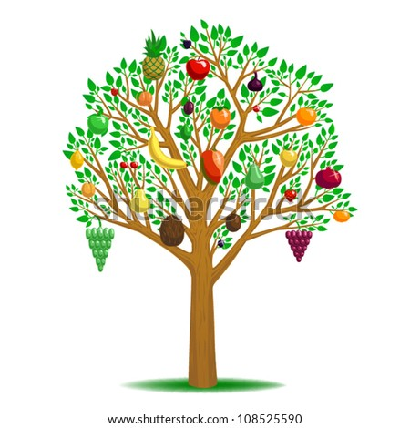 Multi fruit tree, vector art