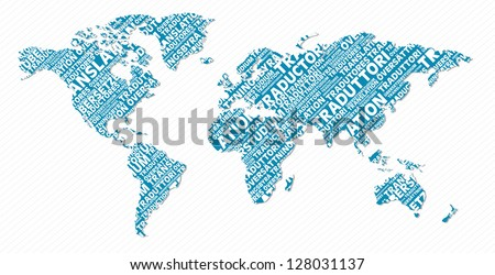 Multi-language world map text shape. Vector file layered for easy manipulation and custom coloring.