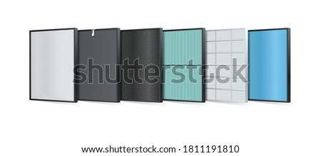 Multi-layer air filter consists of multiple filter layers. Aluminum filter, Coarse fibers, carbon layers, protecting against PM2.5, HEPA filter, fabric layers, air purification layer, ionizer. Vector