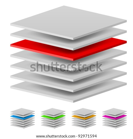 Multi layers. Illustration of the designer on a white background