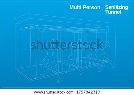 Multi person business installed sanitizing gates disinfectant gate Sterilize Gate tunnel to prevent corona virus COVID-19 spread, 3D