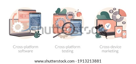 Multi platform framework abstract concept vector illustration set. Cross-platform software testing, cross-device tracking, application development, operating system, analytics abstract metaphor.