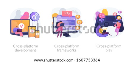Multi-platform software. Responsive app coding and programming. Cross-platform development, cross-platform frameworks, cross-platform play metaphors. Vector isolated concept metaphor illustrations.
