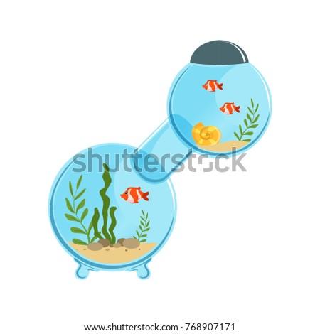 multi room aquarium in round