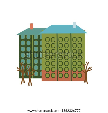 Multi Storey House City Building Cartoon Vector Illustration