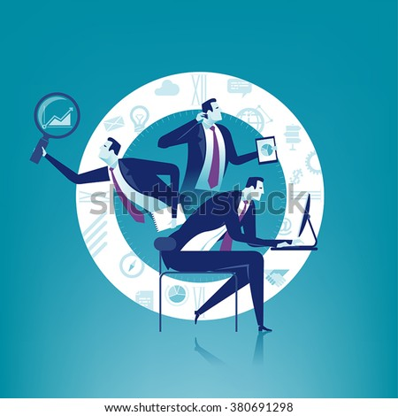 Multi-tasking. Business concept illustration.
