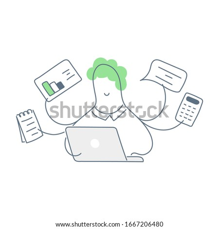 Multi-tool business man with four hands,  effective management, multitasking and time management concept. Flat line clean vector illustration on white.