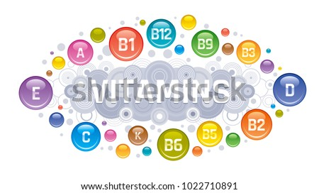 Multi Vitamin complex icons. Multivitamin supplement, Vitamin A, B group  B1, B2, B3, B5, B6, B9, B12, C, D, E, K  logo, isolated white background. Diet Infographic poster. Science vector illustration
