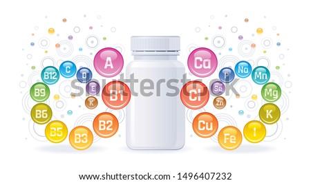 Multi vitamin mineral complex supplement. 3d Empty pill bottle mock up. Vitamin a b c d e k. Mineral calcium iron zinc selenium iodine magnesium. Trendy health multivitamin complex vector illustration