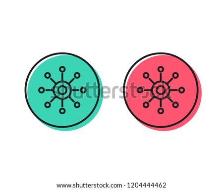Multichannel line icon. Multitasking sign. Omnichannel symbol. Positive and negative circle buttons concept. Good or bad symbols. Multichannel Vector