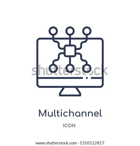 multichannel marketing icon from technology outline collection. Thin line multichannel marketing icon isolated on white background.