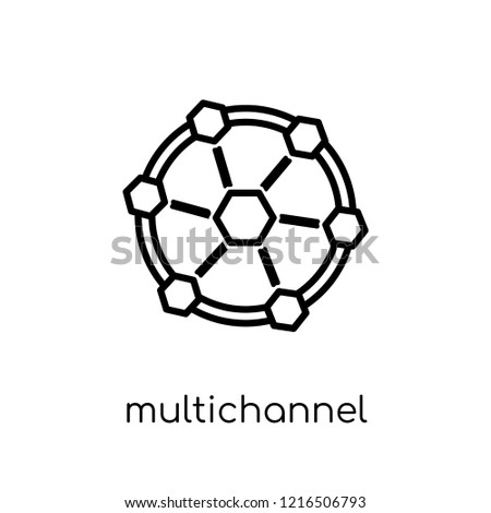 Multichannel Marketing icon. Trendy modern flat linear vector Multichannel Marketing icon on white background from thin line Technology collection, editable outline stroke vector illustration