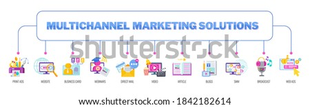 Multichannel, omnichannel marketing solutions. Traditional and digital marketing. Advertising and direct sales. Brand promotion in the target market. Flat vector cartoon illustration Stock photo ©