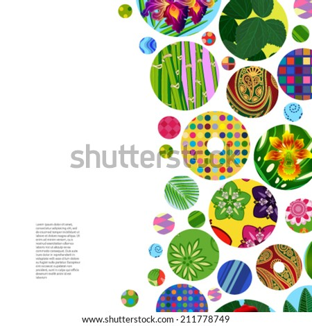 Multicolor abstract bright background with ornamental circles. Elements for design. Eps10. #211778749