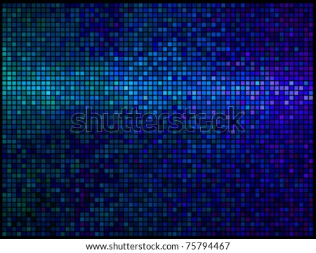 Multicolor abstract lights blue disco background. Square pixel mosaic vector