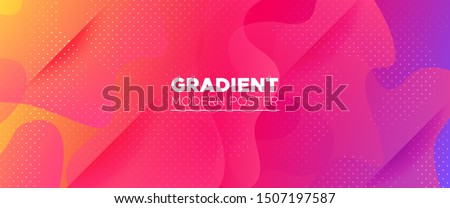 Multicolor Abstract Poster. Gradient Background. Minimal Concept. Bright Wave Brochure. Abstract Shapes. Rainbow Geometric Background. Vivid Minimal Pattern. Light Dynamic Waves. 3d Fluid Banner. Stock photo ©