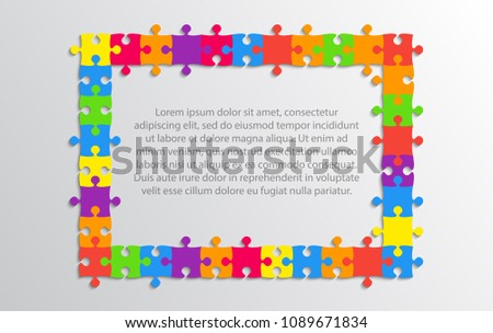 Multicolor Background Puzzle Frame. Jigsaw Banner. Vector Illustration Template Shape. Abstract Puzzle Background Puzzle Game Mosaic. Spread Out Mosaic Puzzle Tiles Background. Puzzles. Frame.