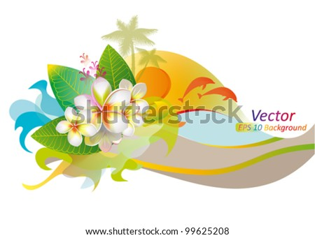 Multicolor background with white frangipani flowers, beach and sun - stock vector