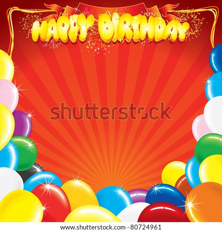 Multicolor Balloons with the words Happy Birthday, template for your own card design