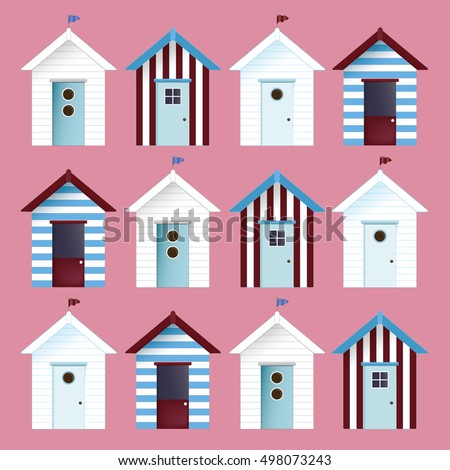 multicolor beach huts vector