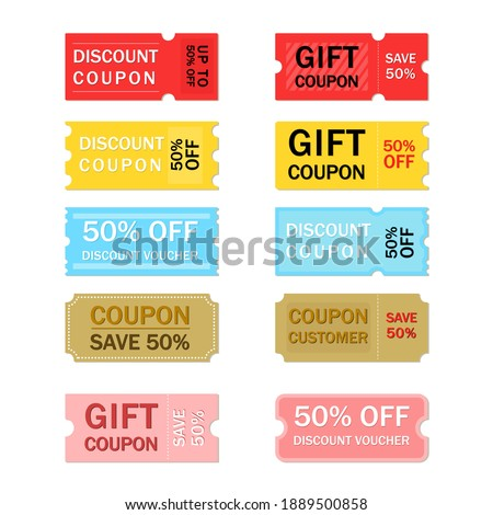 Multicolor coupon sale label and tag collection with flat design.