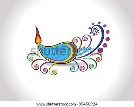 multicolor Creative artwork design lit diya for happy deepawali & other indian festival